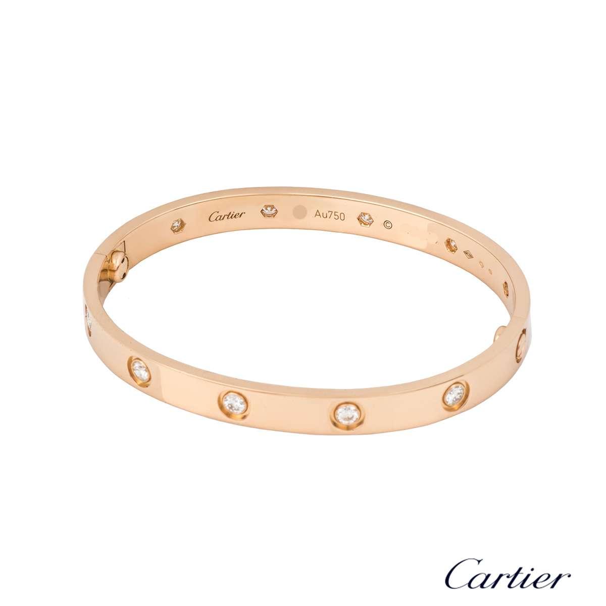Cartier Rose Gold Full Diamond Love Bracelet Size 16 B6040616